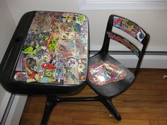 Superhero Comic Book Decorated Desk & Chair - But cabinets are not the only pieces of furniture that you can decorate and turn super. In fact even your son's small desk can become super by you gluing some comic book pages around it. Just make sure that each piece is secured and that your design won't easily get destroyed.