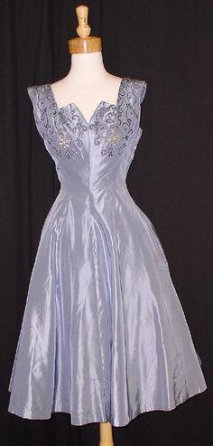 Rustling Pale Blue-Grey Taffeta 1950's Cocktail Dress