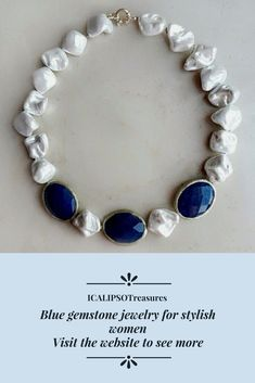 Beaded blue necklace for her with majorca pearls, perfect as birthday or Christmas gift for wife, girlfriend, mom or as statement jewelry. Visit the website to see more.