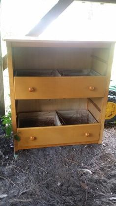 Nesting box from old dresser for chickens