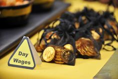 Construction party - gold coins for wages