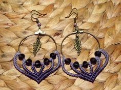 Aretes de macrame pendientes tribales bohemio bohemio por QuetzArt