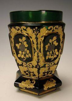 Antique Bohemian Beidermeier Persian Gold Sterling Gilt Emerald Green Glass Vase