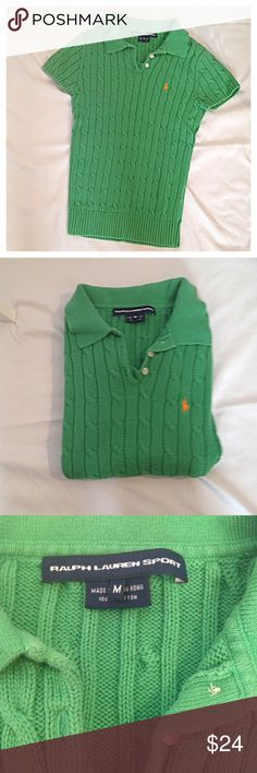 Ralph Lauren Sport short sleeve sweater Good condition. No holes, rips or stains. ❌Smoke and pet free home. ⚡️Same/next day shipping. 💲Save by bundling or make a reasonable offer through the offer button. 🚫No trades or modeling. Ralph Lauren Sweaters V-Necks