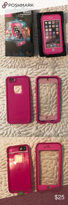 Hot pink Life Proof Case for the iPhone 6/6s Hot pink LIFEPROOF frē case for the iPhone 6 and 6s. Works perfectly. Used for a couple of days. Comes with box, directions, and a screen wipe. LifeProof Accessories Phone Cases
