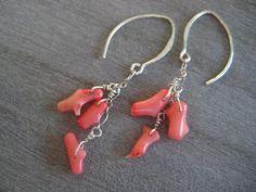 Dangling Pink Coral Earrings Sterling Silver by debbyhawaii
