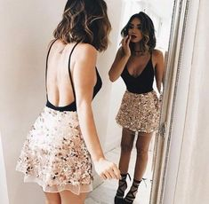 Elegant bodysuit with low back looks great when paired with a sparkly skirt. | Bodysuits That Give you a Sexy Kardashian Silhouette