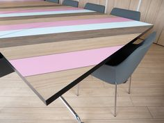 Who said office furniture has to be boring? We all spend enough time at work, so why not make it interesting by choosing a colorful piece of furniture that breaks the monotony. Office Furniture, Furniture Design, Office Table, Industrial Design, Facade, Lavender, Colorful, Flooring, Interior Design