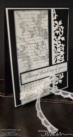 Black & Very Vanilla Thinking Of You Card Black & Very Vanilla Thinking Of You Card Paper Cards, Diy Cards, Your Cards, Versailles, Stampin Up Karten, Birthday Cards, Birthday Images, Birthday Quotes, Birthday Greetings