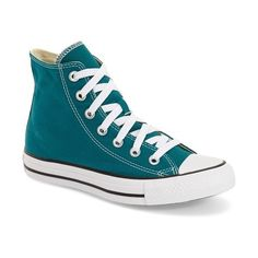 Converse Chuck Taylor All Star 'Seasonal Hi' Sneaker ($45) ❤ liked on Polyvore featuring shoes, sneakers, rebel teal, converse footwear, teal blue shoes, laced sneakers, converse sneakers and star shoes