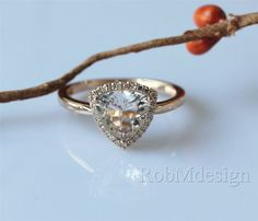 New Design!Trillion Triangle Cut 8mm Pink Morganite Engagement Ring Halo Diamond 14k Rose Gold Wedding Ring Promise Ring Pink Gemstone Ring