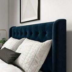 Quilted Headboard, Blue Headboard, Bed Headboard Design, Bedroom Bed Design, Bedroom Furniture Design, Headboards For Beds, Velvet Headboard, King Size Bed Headboard, Quilted Bed Frame