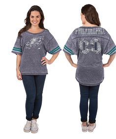 Philadelphia Eagles Womens Burnout Jersey Short Sleeve Tee