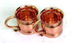 100% Authentic Copper Old Fashion Smooth Moscow Mule Mug with Flat Lip.Set Of 2 #Visvabhavanah