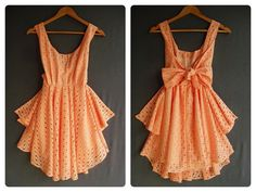 A Party Cocktail Prom Party Dinner Wedding Night- Love orange, and especially the bow on the back!