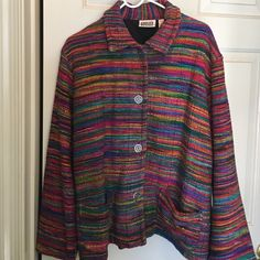 Chico's rainbow of colors woven jacket Chico's size 2; beautiful woven silk & cotton textured jacket. 4 large chunky decorative buttons; 2 outer pockets. Chico's-2 fits medium to large. Chico's Jackets & Coats