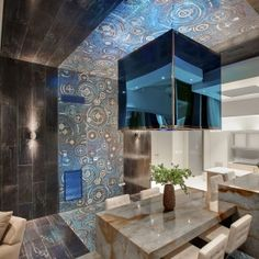 City Center Penthouse Extravagant Interior Design By Mark Tracy:  Las Vegas Penthouse Photo 08: Primary Dining Area Blue Louise Granite Table  #creativityelevated