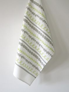 Shapes Tea Towel graphic grey gray green bold by RetroMenagerie, $18.00