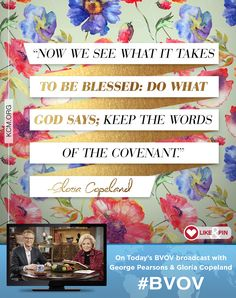 Watch Gloria Copeland and George Pearsons on the BVOV broadcast as they share how abundance isn't limited to one area of your life, but touches everything around you. - See more at: http://www.kcm.org/watch/tv-broadcast/blessing-everywhere-you-go#sthash.4UYZG8Da.dpuf