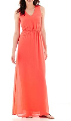 DQT True Color Sleeveless Open-Back Maxi Dress - Tall