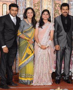 Suriya and Jothika at Karthi Marriage