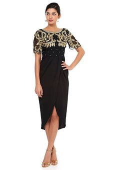 7ce5b0d9d96 Page Not Found. Virgos Lounge Black Gold Embellished Wrap Nene Cocktail  Midi Party Dress 14 42  VirgosLounge ...