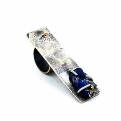 Sterling silver plated ring, set with melted 18k Gold and silver, set with Covellite