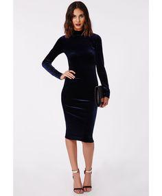Parker High Neck Velvet Midi Dress Navy - Dresses - Missguided