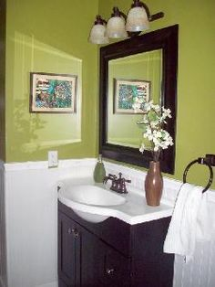 Half Bath Paint Color Idea  Love The Chocolate Brown With A Lime Green/bead  Board (that We Already Have Up! And Love This Sink! Love The Light Fixture  Too!