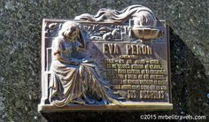 A plaque for Eva Peron on her families mausoleum at La Recoleta Cemetery Buenos Aires www.mrbelltravels.com