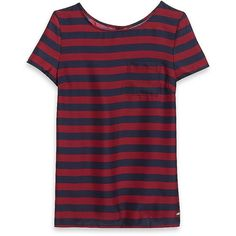 Tommy Hilfiger Final Sale- Stripe Pocket Tee (24 AUD) ❤ liked on Polyvore featuring tops, t-shirts, classic fit t shirts, red top, scoopneck top, red scoop neck top and striped pocket tee