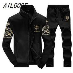 Men Casual Active Suit Zipper Outwear 2PC Jacket+Pants #MensFashionPreppy