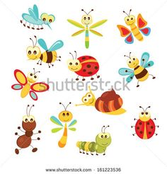 Illustration about Set of funny cartoon insects isolated over white. Illustration of ladybug, garden, scrapbook - 34914096