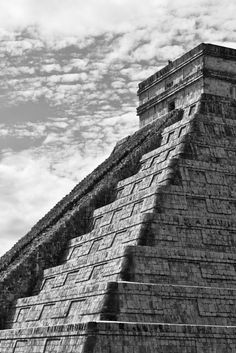 "Pyramid of Kukulkan - In the search for new points of view, to express the majesty of the lines and textures that make up ""The Castle"" or ""Pyramid of Kukulkan"" in the archaeological site of Chichen Itza in the Yucatan Peninsula, Mexico. Travel Money, Archaeological Site, High Quality Images, Mexico, Castle, Around The Worlds, The Incredibles, Explore, Landscape"