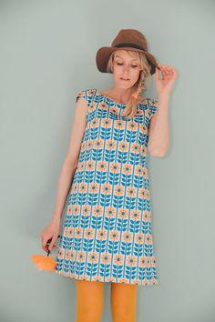 A-Linien-Kleid STOCKHOLM LACHS BLAU by BonnieandButtermilk on Etsy