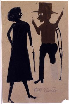Bill Traylor (1854 – 1949) was a self-taught artist born into slavery on a plantation in Alabama. After emancipation, his family continued to farm on the plantation until the 1930s. In 1939, at age eighty-five, he moved to Montgomery, where he slept in the back room of a funeral home and in a shoemaker's shop. During the day, he sat on the sidewalk and drew images of the people he saw on the street and remembered scenes from life on the farm, hanging his works on the fence behind him.