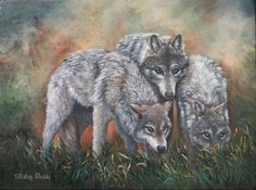 Wolves Painting: The Hunters, Wildlife Wolf paintings by Shirley Reade