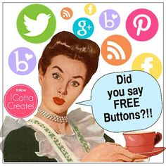 Free Social Media Icon Buttons in fun colors!