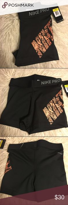 """Black Nike Pros with Snakeskin Black nike pros with orangish-coral color snakeskin """"NIKE"""" Nike pros // size xSmall &  Small available // brand new never worn  🚫No trades 🚫No lowballing ✅Bundle Discount 💯 Authentic items  ✨purchase at listed price get a free gift✨ Nike Shorts"""