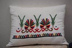 Hand Embroidered Pillow Cover for Decorative Pillows, Greek Ceramide edge Design by FossaCreations on Etsy