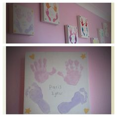 Yearly hand and foot prints... Canvas and tester pots of paint! :)