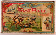 "An American Gilded Age - Game Board, An illustrative depicting of an Ivy League game. ""The Yale-Princeton Football Game"" ~ Published by: McLoughlin Brothers - New York. Old Board Games, Vintage Board Games, Old Games, Game Boards, Vintage Calendar, Vintage Books, Vintage Magazines, Vintage Stuff, Old Toys"