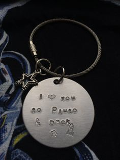 """Keychain """"I love you to [insert planet here] & back"""" hand stamped // Milky Way: Moon, Saturn, Jupiter, Pluto // Personalized free"""