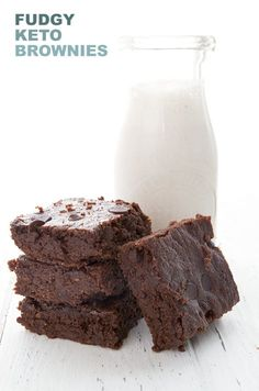 Easy keto brownies in a stack in front of a bottle of milk Keto Brownies, Dairy Free Brownies, Cookie Dough Cake, Chocolate Chip Cookie Dough, Cream Cheeses, Flourless Chocolate, Chocolate Brownies, Peanut Butter, Vegetarian Recipes