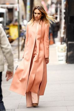 Jessica Alba is peach perfection in business chic.