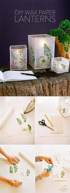 Pressed Flower and Leaf Wax Paper Lanterns