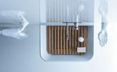 Meg 11 - Wash basin with ash planck --- Lavabo/lavatoio con asse in legno di frassino, collezione Meg11