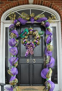 Mardi Gras Door Decoration: Garland and Wreath from deco mesh
