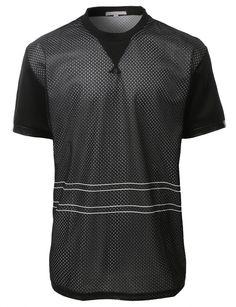 269ae575b8b8 LE3NO Mens Active Short Sleeve Mesh Baseball Jersey Mens Active Shorts