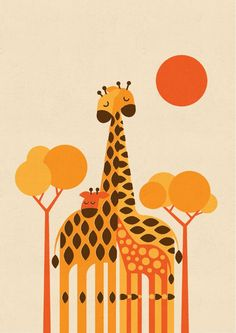 ARTFINDER: Giraffe Family by Gleb Toropov - This retro Giraffe Family print is one of a series of animal images. These prints will bring warmth and fun to any room. Bold colours and simple shapes appea...